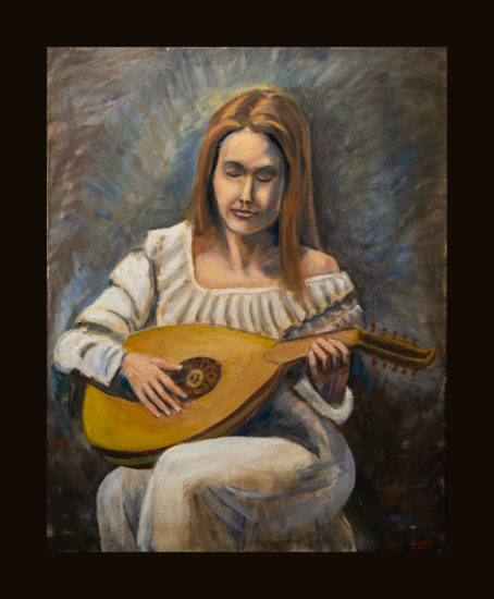 Woman playing a lute.